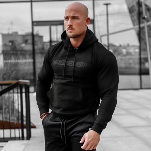 Fitness pulóver cipzár nélküli Iron Aesthetics Unbroken, fekete