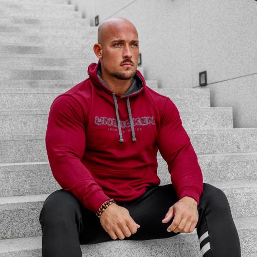 Fitness pulóver cipzár nélkül Iron Aesthetics Unbroken, bordó