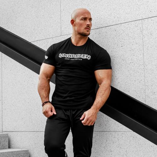 Férfi fitness póló Iron Aesthetics Unbroken, fekete