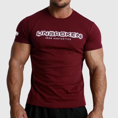 Férfi fitness póló Iron Aesthetics Unbroken, bordó
