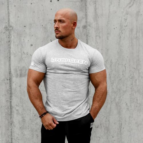 Férfi fitness póló Iron Aesthetics Unbroken, szürke