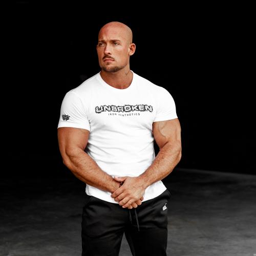 Férfi fitness póló Iron Aesthetics Unbroken, fehér