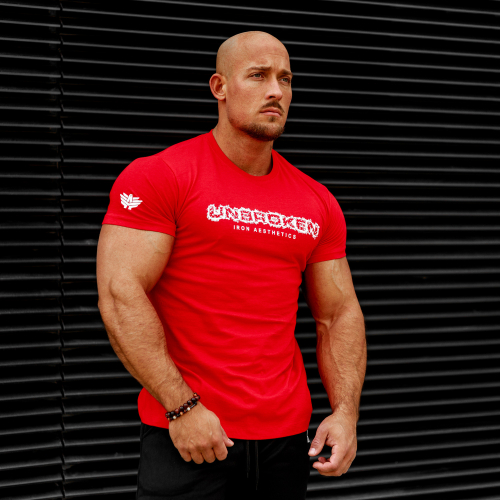 Férfi fitness póló Iron Aesthetics Unbroken, piros