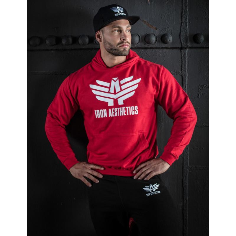Sportos cipzár nélküli pulóver Iron Aesthetics, piros-3