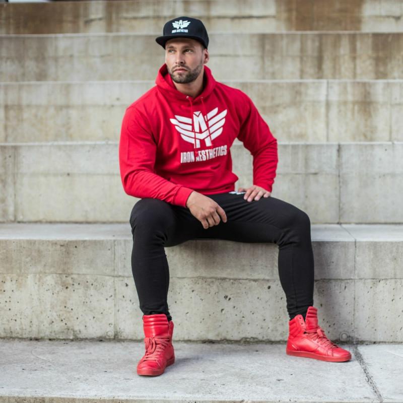 Sportos cipzár nélküli pulóver Iron Aesthetics, piros-1