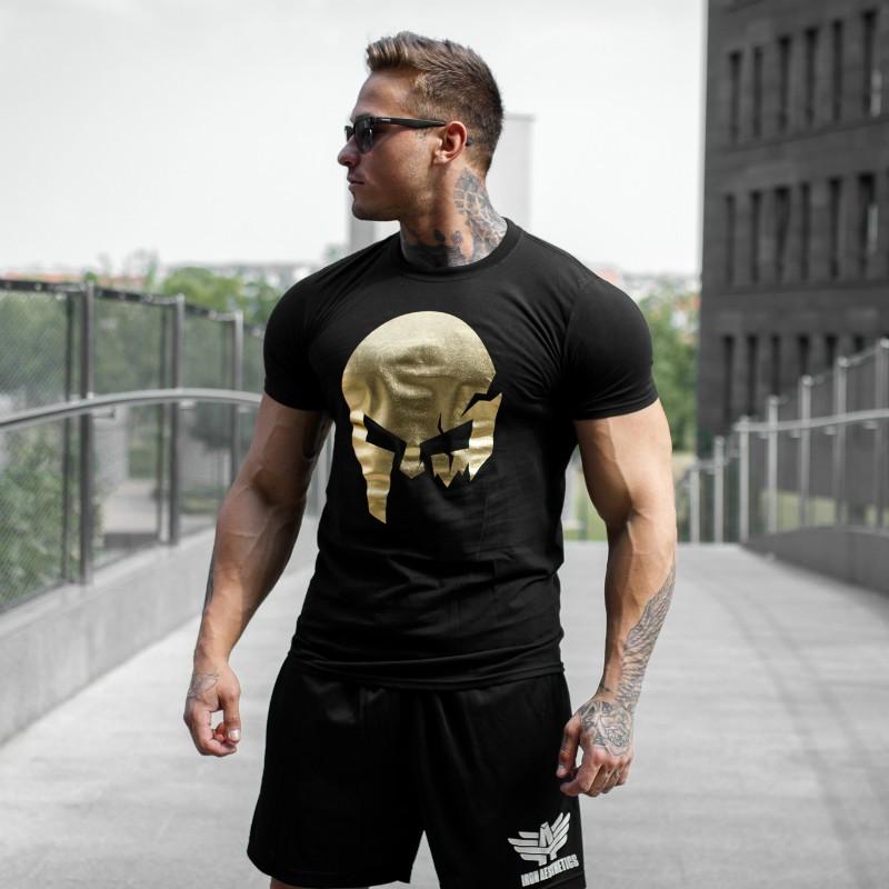 Ultrasoft póló Iron Aesthetics Skull, black&gold-5