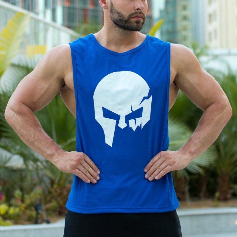 Ujjatlan fitness póló Iron Aesthetics Skull, kék-4