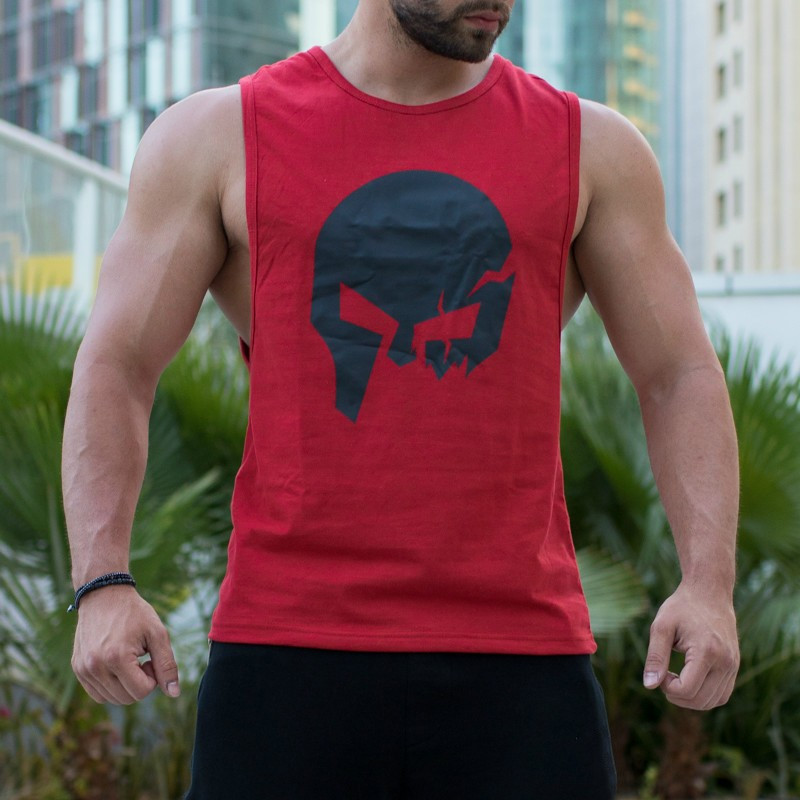 Ujjatlan fitness póló Iron Aesthetics Skull, piros-3