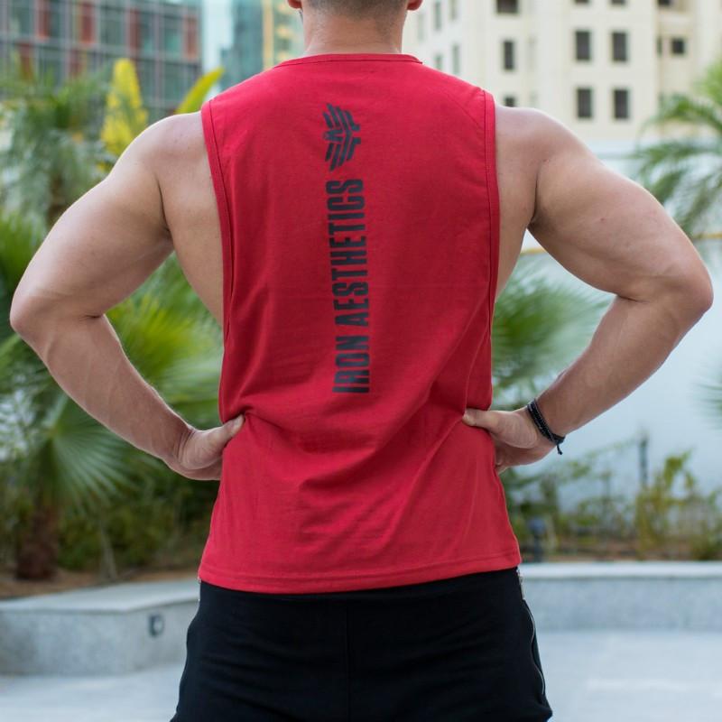 Ujjatlan fitness póló Iron Aesthetics Skull, piros-4