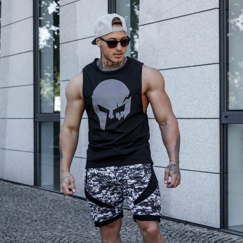 Ujjatlan fitness póló Iron Aesthetics Skull, fekete-5