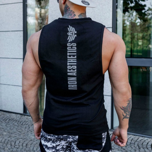 Ujjatlan fitness póló Iron Aesthetics Skull, fekete