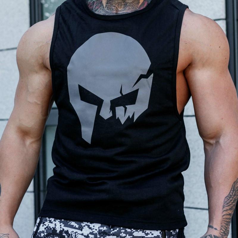 Ujjatlan fitness póló Iron Aesthetics Skull, fekete-3