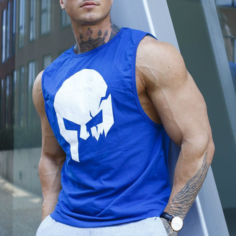 Ujjatlan fitness póló Iron Aesthetics Skull, kék-1