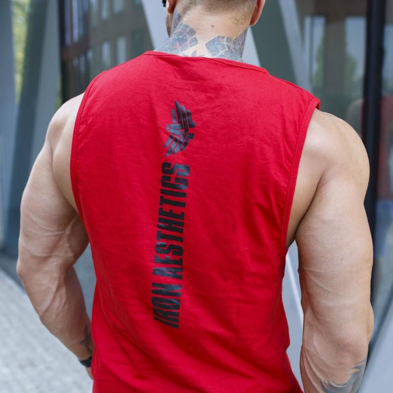 Ujjatlan fitness póló Iron Aesthetics Skull, piros-2