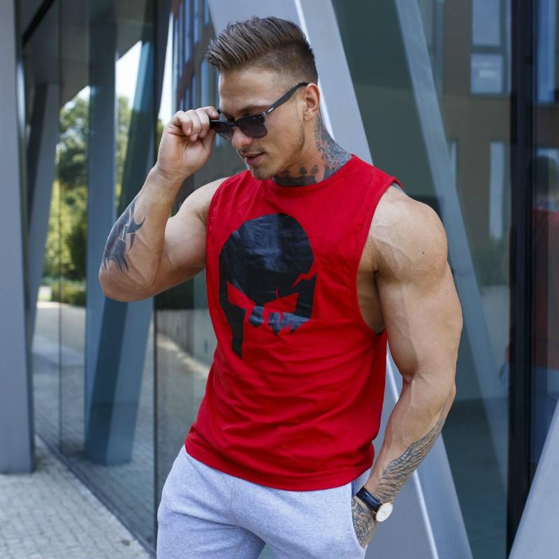 Ujjatlan fitness póló Iron Aesthetics Skull, piros-1