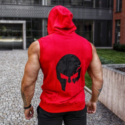 Ujjatlan pulóver Iron Aesthetics Sleeveless Skull, piros
