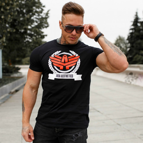 Férfi fitness póló Iron Aesthetics Triumph, fekete