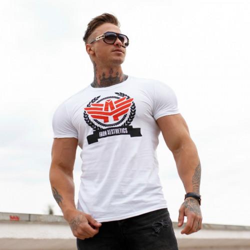 Férfi fitness póló Iron Aesthetics Triumph, fehér
