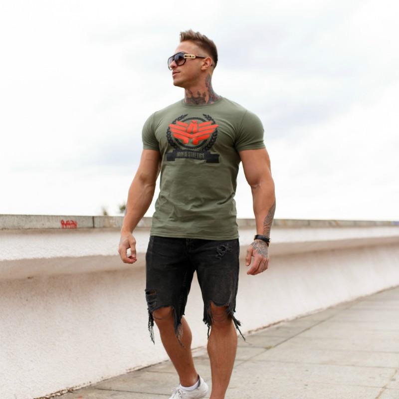 Férfi fitness póló Iron Aesthetics Triumph, katonazöld-2