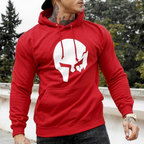 Fitness pulóver cipzár nélkül Iron Aesthetics SKULL, piros
