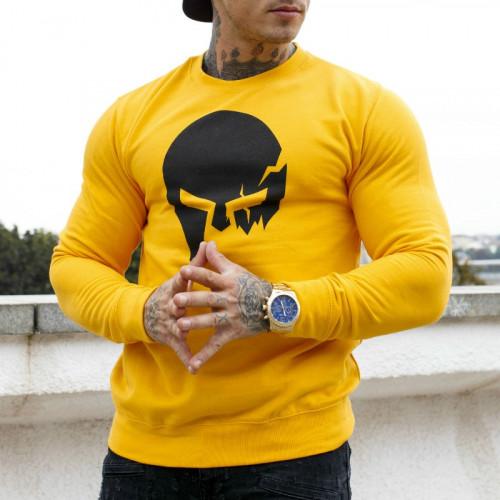 Férfi pulóver Iron Aesthetics SKULL, Sárga