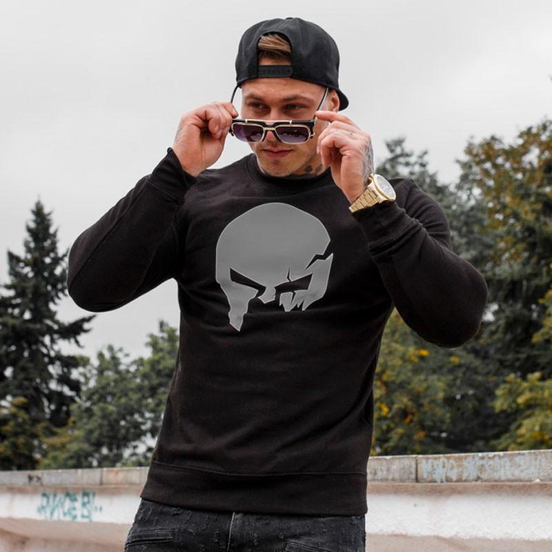 Kapucni nélküli pulóver Iron Aesthetics SKULL, B&G-3