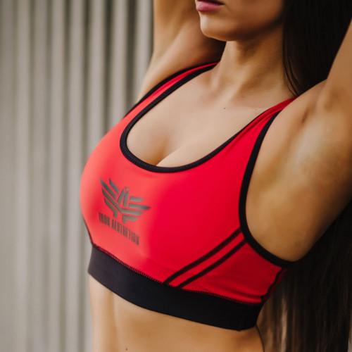 Női sportmelltartó - Iron Aesthetics, piros