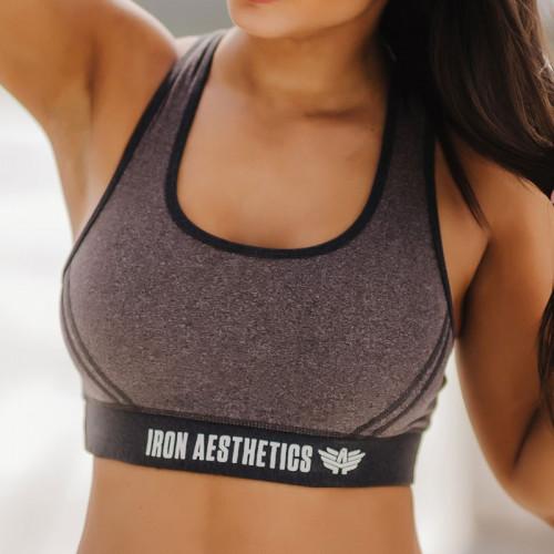 Női sportmelltartó- Iron Aesthetics, szürke