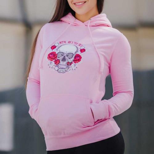 Női Fitness pulcsi Skull&Roses, rózsaszín