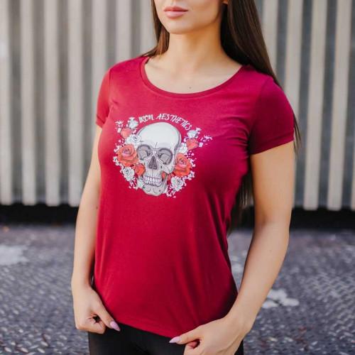 Női fitness póló Iron Aesthetics Skull&Roses, bordó