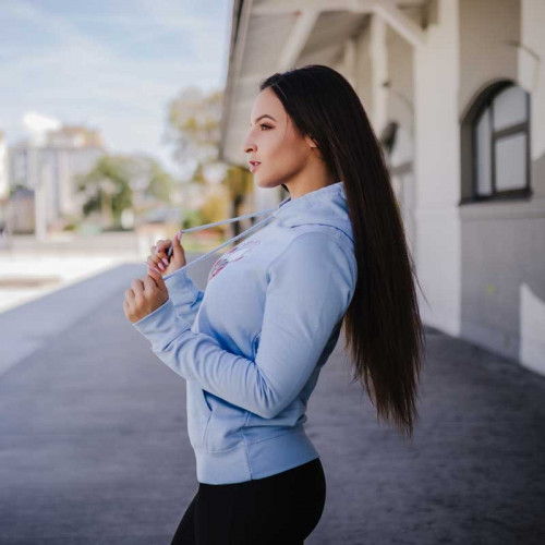 Női Fitness pulcsi Skull&Roses, kék