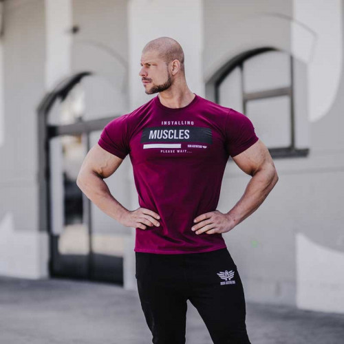 Férfi fitness póló Iron Aesthetics Installing Muscles, lila