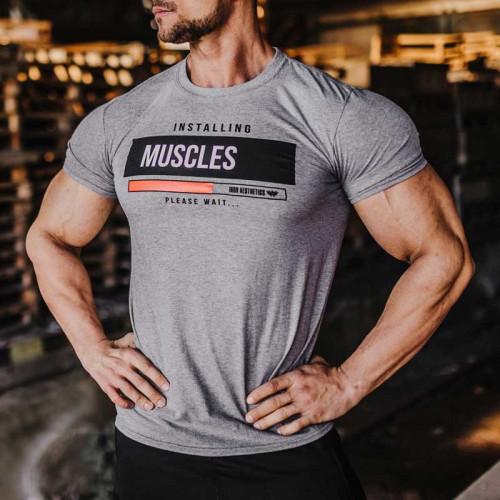 Férfi fitness póló Iron Aesthetics Installing Muscles, szürke