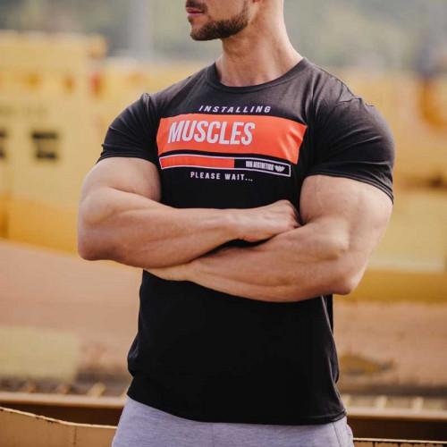 Férfi fitness póló Iron Aesthetics Installing Muscles,fekete