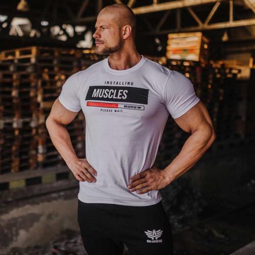 Férfi fitness póló Iron Aesthetics Installing Muscles, fehér