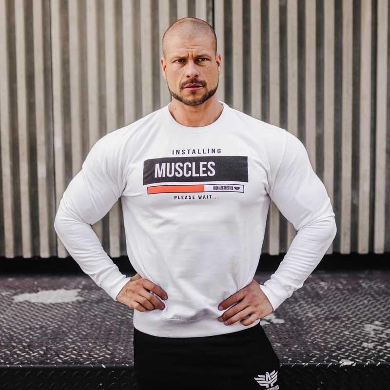 Kapucni nélküli pulóver Iron Aesthetics Installing Muscles, fehér-3