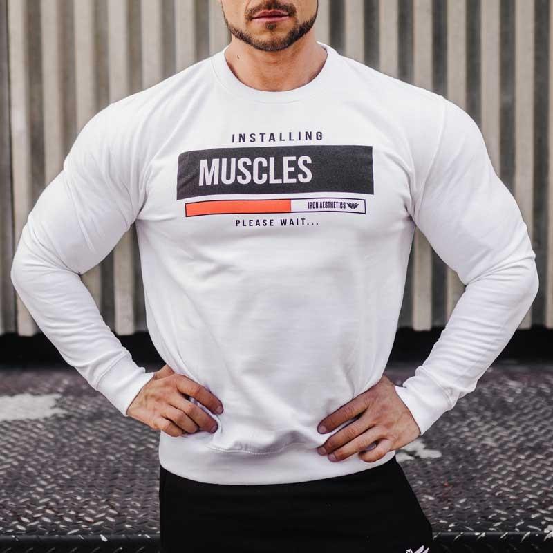 Kapucni nélküli pulóver Iron Aesthetics Installing Muscles, fehér-4