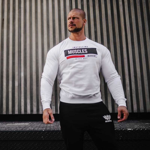 Férfi pulóver Iron Aesthetics Installing Muscles, fehér