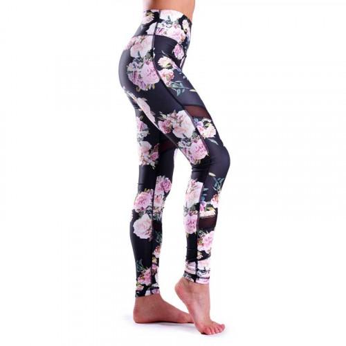 Női leggings Mesh FLOWERS - Iron Aesthetics, fekete