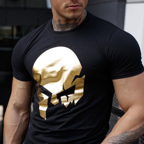 Ultrasoft póló Iron Aesthetics Skull, black&gold