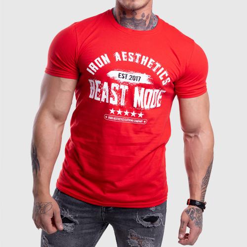 Férfi fitness póló Iron Aesthetics Beast Mode Est. 2017, piros