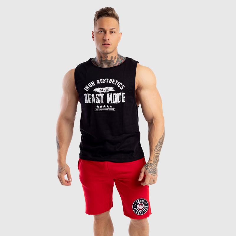 Ujjatlan férfi fitness póló Iron Aesthetics Beast Mode Est. 2017, fekete-3