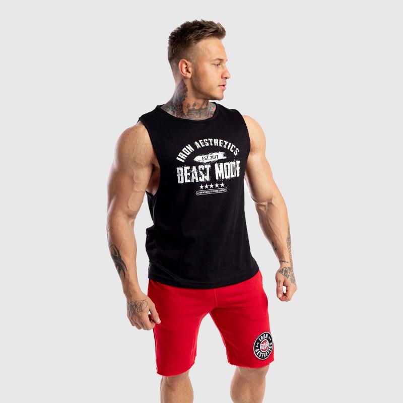 Ujjatlan férfi fitness póló Iron Aesthetics Beast Mode Est. 2017, fekete-2