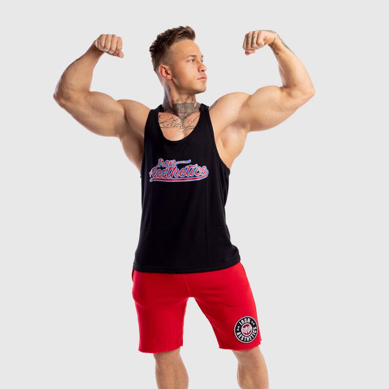 Ujjatlan férfi fitness póló Iron Aesthetics Baseball, fekete-3