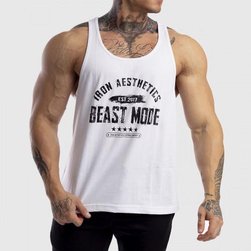 Ujjatlan férfi fitness póló Racerback Iron Aesthetics Beast Mode Est. 2017, fehér