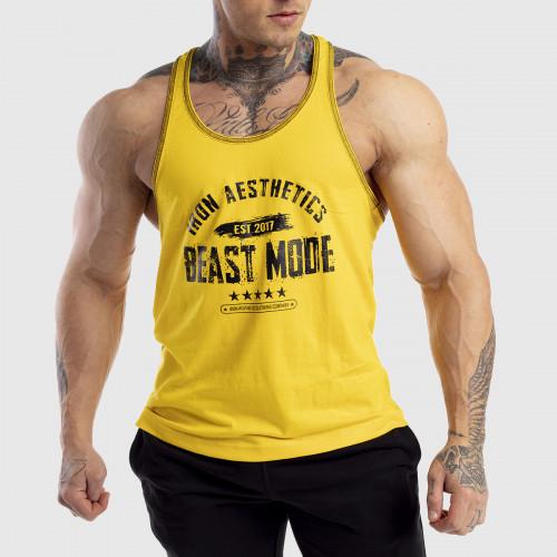 Ujjatlan férfi fitness póló Racerback Iron Aesthetics Beast Mode Est. 2017, sárga