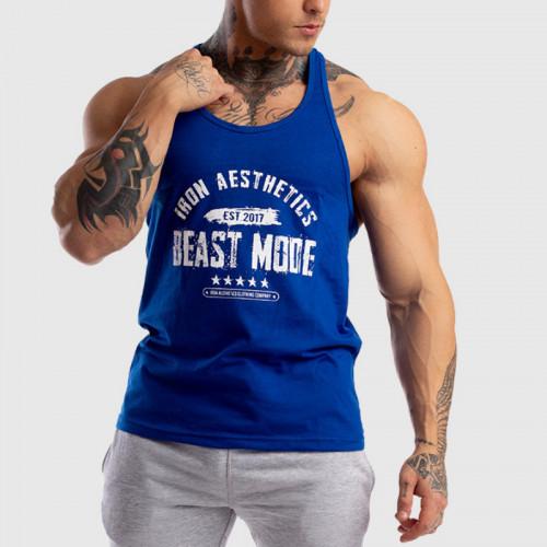 Ujjatlan férfi fitness póló Racerback Iron Aesthetics Beast Mode Est. 2017, kék