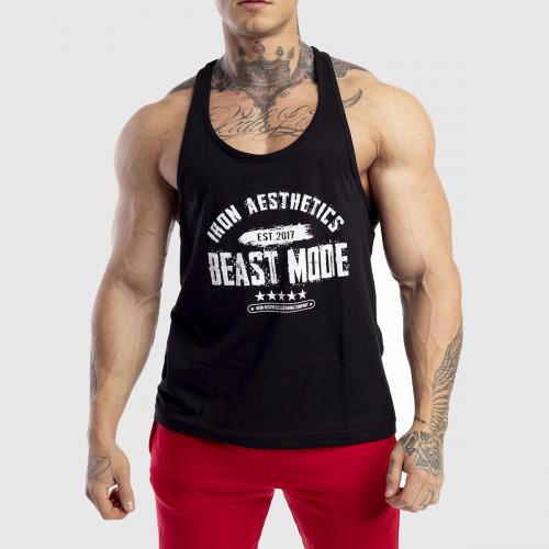 Ujjatlan férfi fitness póló Racerback Iron Aesthetics Beast Mode Est. 2017, fekete