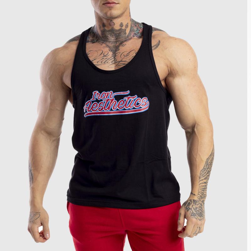 Ujjatlan férfi fitness póló Iron Aesthetics Baseball, fekete-1