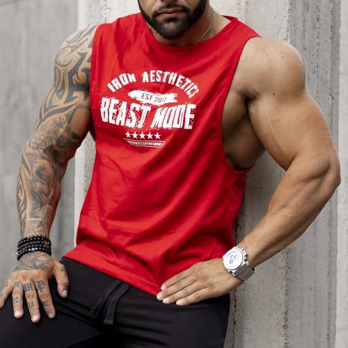 Ujjatlan férfi fitness póló Iron Aesthetics Beast Mode Est. 2017, piros